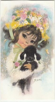 Vintage 1970 s Happy Birthday Greeting Card & Envelope by Royle ~ Black Poodle