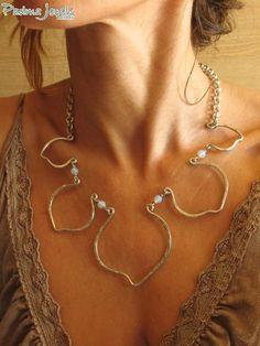 Lotus necklace, aluminium and opalite by Padma Jewels Bazaar