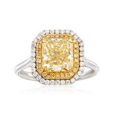 Majestic Collection 3.20 ct. t.w. Yellow and White Diamond Ring in 18kt Two-Tone Gold | Ross-Simons Yellow Diamond Rings, Emerald Cut Diamonds, Diamond Studs, Colored Diamonds, Yellow Diamonds, Diamond Ring Settings, Halo Diamond Engagement Ring, White Gold, Sun Kissed