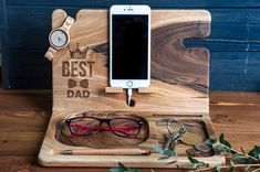 Best Dad Gift,Wood Stand,Wood Station Dad Gift,Father Day Gift,Personilized Wood Station,Personalized Organizer,Father Gift,Glasses Holder A key behind every successful man is getting an organized start for the day. Whether you are a man or a woman searching for a present for the closest