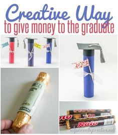 Looking for a creative way to give money as a graduation gift? This DIY gift idea is super simple to make using paper and Rolos and couldn't get much cuter. Is there a better gift than money AND chocolate???