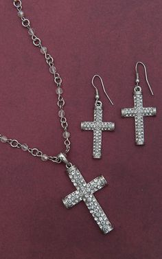 Blazin Roxx® Silver Crystal Cross Jewelry Set 30426