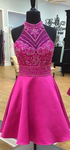 2017 short prom dress homecoming dress, hot pink prom dress homecoming dress, sparkly prom dress homecoming dress