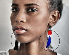Large Tribal hoop earrings in asymmetric design // Made from lightweight acrylic // Bold statement look