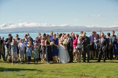 Wedding ceremony on the Lakeside Lawn, Mt Cook Lakeside Retreat, Lake Pukaki, New Zealand. Such a superbly beautiful setting for your wedding.