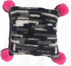 INTERNATIONAL PILLOW FIGHT DAY 4TH APRIL Mintchi Big Pom Pom Pillow_Black/Pink_LRG - Mintchi's pom pom pillows are a very cute addition to your home decoration. Exclusive to littledistinctions.com buy something unique and gorgeous to lighten up your room. #pillowfight #pillowfightday #pompom #pillow #cushion #ecofriendly #envirofriendly #homedecor #kidsrooms #livingroom #funkycusions #limitededition #