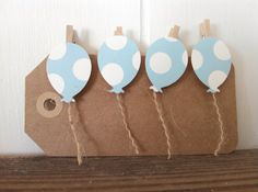 Mini Balloon Clothes Pins in Blue 12 Birthday Party Favors Bday Decor Gift Tag Baby Shower Clips in Polka Dots and Stripes on Etsy, $7.50