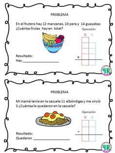 Problemas para I grado | Profe Yano 2nd Grade Math, Math Class, Worksheets For Kids, Kindergarten Worksheets, Tens And Ones, Maila, Speech Language Therapy, Math For Kids, Home Schooling