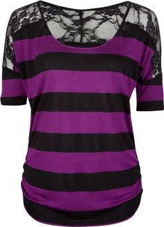 FULL TILT Lace Shoulder Stripe Womens Top - http://clothing.wadulifashions.com/full-tilt-lace-shoulder-stripe-womens-top/