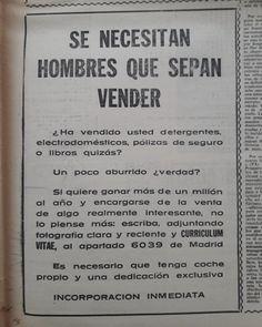 Año 1974. Si eres hombre y vendiste detergentes por aquel entonces, te están buscando.