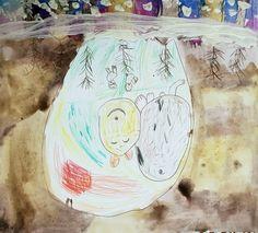Medvěd spí ve svém brlohu. Práce předškolních dětí našeho výtvarného studia. Globe, Studios, Speech Balloon