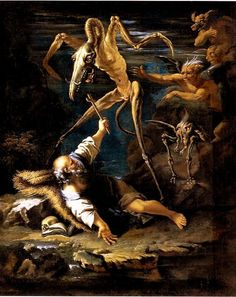 (Surrealist Inspiration) The temptation of Saint Anthony, Salvator Rosa, 1645 Arte Horror, Horror Art, Art Bizarre, Weird Art, Creepy Paintings, Old Paintings, Arte Naturalista, Temptation Of St Anthony, Android Jones