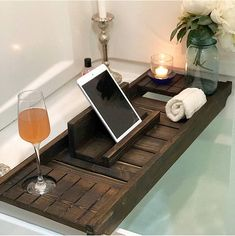 """Talk about bathing in Luxury with this gorgeous Cedar bath tray with wine glass holder and IPad Holder! This stunning bath tray is both practical and decorative! Use with or without the IPad Holder. Small : Total dimensions 28"""" x 11"""" x 2 1/2"""" Underneath dimensions are 24 1/2"""" L"""