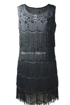 Zum Heranzoomen mit der Maus über das Bild fahren Ähnlichen Artikel verkaufen? Selbst verkaufen Details zu  Black 20s Style Vintage Flapper Beaded Fringe Glamour Gatsby Charleston Dress