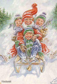 Curt Nyström Norse Mythology, Christmas Illustration, Vintage Christmas Cards, Old Postcards, Nordic Style, Gnomes, Elves, Celtic, Scandinavian