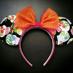 Day of the Dead Ears Handmade Day of the Dead fabric ears with orange and magenta glitter bow and headband Accessories Hair Accessories