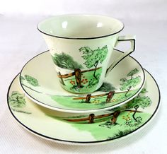 Art Deco Country Scene Trio, Palissy China Kelly Green Pastoral Field & Fence Hand-painted Cup Saucer Teaplate Set 1930s by keepsies on Etsy - £25.00