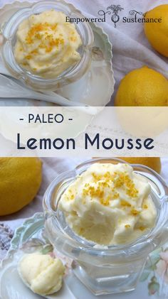 Easy Paleo Lemon Mousse; layer with blueberries and strawberries for a delicious parfait! #easter #dessert #paleo