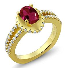 141 Ct Oval Red Created Ruby 18K Yellow Gold Plated Silver Ring *** Read more reviews of the product by visiting the link on the image. (This is an affiliate link) #Rings