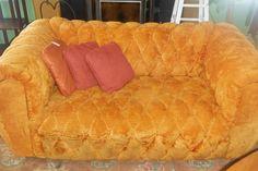 Rare Retro 60s / 70s Vintage Matching Couch / Sofa & Loveseat - Pumpkin Orange