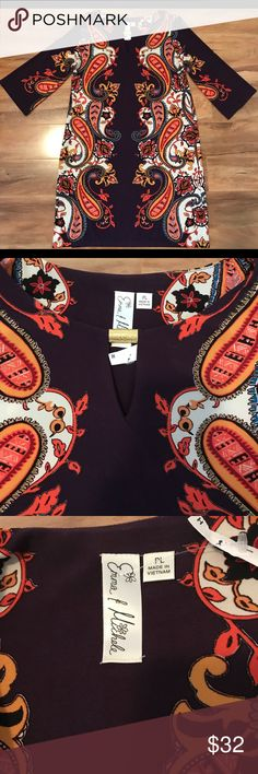 Emma Michael three quarter sleeve size PL Color: purple,orange, white & Black emma Dresses Mini