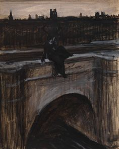 "the-night-picture-collector: "" ""Edward Hopper, A Woman Sitting on a Bridge in Paris, 1907 "" """