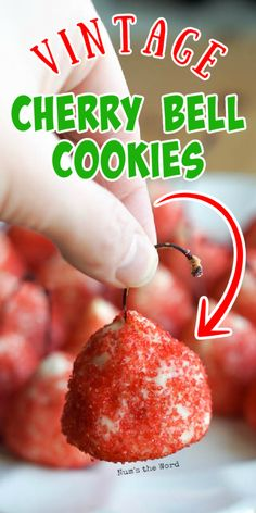 This Cherry Bell Cookie Recipe was popular in the 1960's and is making a come back! A simple cookie dough wrapped around a stemmed cherry and covered in sugar. These Cherry Cookies are loved by all who try them! #cookie #dessert #christmascookie #cherrycookies #cherryshortbreadcookies #bellcookies #cherrybells #cherryshortbread #numstheword #vintagerecipe #grandmasrecipe #redsugar Christmas Recipes, Holiday Recipes, Cherry Cookies, Kinds Of Cookies, Christmas Cookie Exchange, Best Cookie Recipes, Cookie Ideas, Vintage Recipes, Yummy Cookies