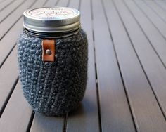 Love this! (I have a similar one that I might use for a pint of ice cream. Maybe.) :: Mason Jar Cozy in Great Smoky Mountains Grey by RogueTheoryLOOP