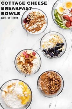 Cottage cheese breakfast bowls are an inexpensive and easy way to meal prep a high protein breakfast. Try these six different flavors! BudgetBytes.com #breakfast #mealprep