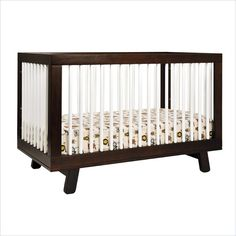 Babyletto Hudson 3-in-1 Convertible Crib in Two-Tone Espresso & White  LOVE that bedding!