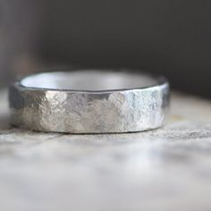 sterling silver wide ring band, organic texture, matte finish, wedding ring, mans ring, unisex ring band on Etsy, £59.53