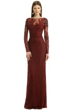 Wine Red Lace Dress | Marchesa Notte Kingsley Gown