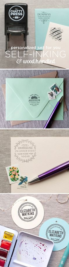 modern address stamps for every personality! Wood handled or self inking, there is sure to be a design just for you! Perfect for wedding invitations, holiday cards, thank you cards and more!