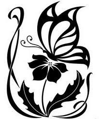 Tribal tattoo of a flower and butterfly. #TattooModels #tattoo