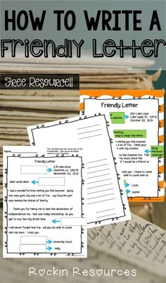 How to write a friendly letter- this free resource is awesome for both the teacher and student!  Anchor charts to teach and student printables!  It teaches the 5 parts of the friendly letter AND mechanics for a friendly letter.  Love it!