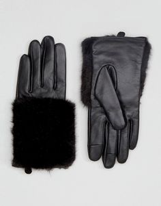 ASOS | ASOS Leather & Faux Fur Mix Gloves With Touch Screen