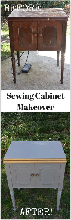 Vintage sewing cabinet makeover with chalk paint. Click to watch the full tutorial on my YOUTUBE channel to see how I turned this old sewing cabinet into a stunning piece lined in gold!   Thrift Diving