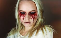 Party Makeup Tutorial Make Up Halloween Costumes Ideas For 2019 Halloween Makeup Last Minute, Halloween Makeup Blood, Bloody Halloween, Up Halloween Costumes, Halloween Eyes, Zombie Makeup, Scary Makeup, Creepy Halloween, Blood Makeup