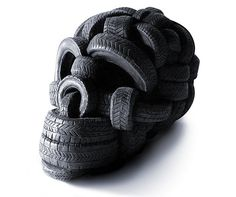 Skull made of tyres..