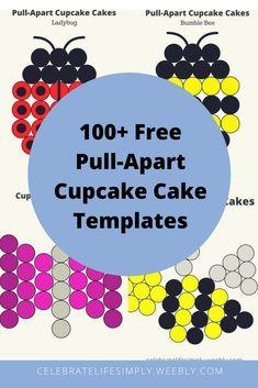 Over 100 Pull-Apart Cupcake Cake Templates Ladybug Cupcakes, Snowman Cupcakes, Animal Cupcakes, Princess Cupcakes, Giant Cupcakes, Pull Apart Cupcake Cake, Pull Apart Cake, Cupcake In A Cup, Cupcake Cake Designs