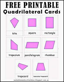 Suzie's Home Education Ideas: Learning about Quadrilaterals - Printable Cards