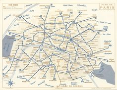 Paris Métro map, 1956. Note several old station denominations (Étoile (1,2,6), Palais Royal (1), Louvre (1), Bagnolet (2), Javel (10)), the presence of the old line 14 (now the southern part of line 13), the absence of lines 3bis and 7bis (then part of lines 3 and 7), and some stations now closed (Arsénal on line 5, Croix Rouge on line 10, Martin Nadaud on line 3).