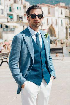 Italian Town Wedding in Cefalu, Sicily - Groom wedding Style abroad