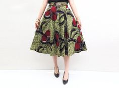 African Print Skirt, Womans Print Skirt, Womens African Clothing, Red Flowers on Olive Green Print