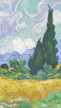 Wheat Field with Cypresses by Vincent van Gogh / Download more Van Gogh's paintings as an iPhone wallpaper via @prettywallpaper