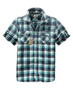 Cotton slub checkered short-sleeved shirt - Shirts - Scotch & Soda Online Shop