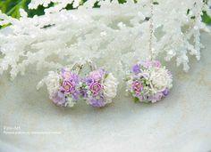 Купить В НАЛИЧИИ - Украшения с белыми пионами. Серьги и кулон - белый, украшения, серьги с цветами