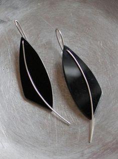 Carolyn Gorman: Ibis Earrings. Black Acrylic and Sterling Silver