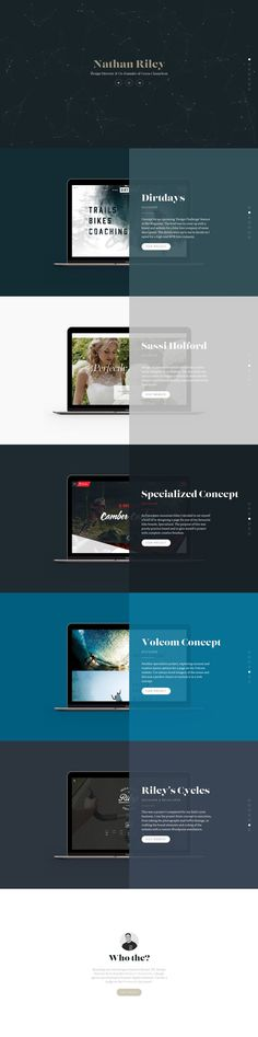 Responsive One Page portfolio for Green Chameleon designer, 'Nathan Riley' featuring a refreshing approach to the trendy centrally divided One Page layouts.