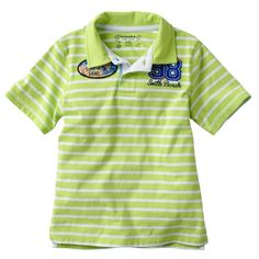 Sonoma+Boys+size+7X+Green+Stripe+Polo+Shirt+South+Beach+Surf+Short+Sleeve